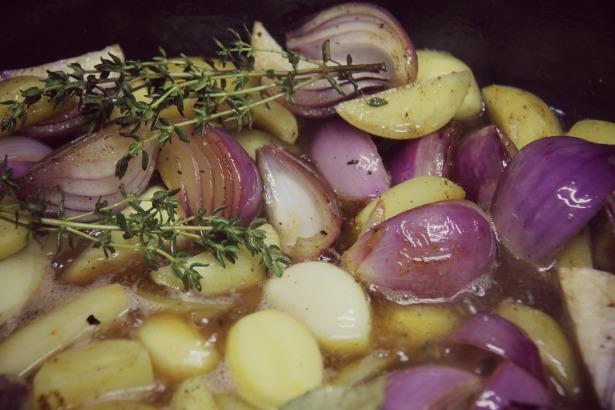 Maishähnchen mit Kartoffel-Kürbisgemüse